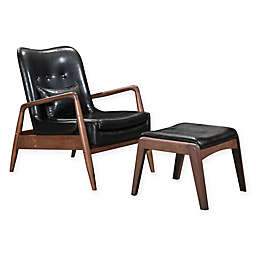 Zuo Leather Upholstered Ottomans in Black(Set of 2)