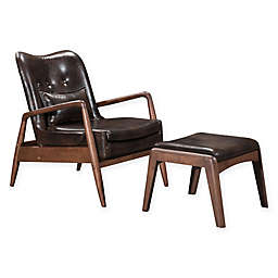 Zuo Leather Upholstered Ottomans in Brown(Set of 2)