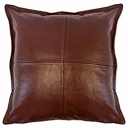 Austin Horn Classics Dakota Faux Leather Square Throw Pillow in Brown