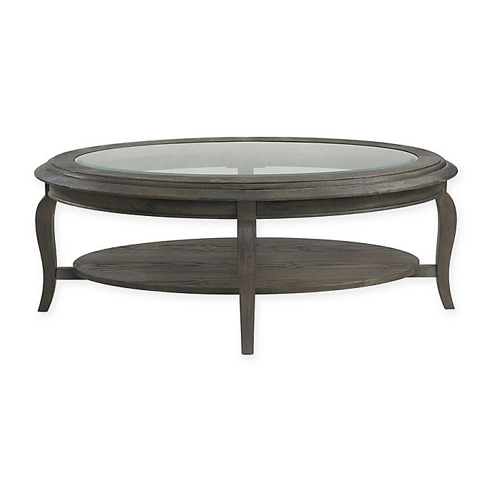 Alternate image 1 for Bassett Mirror Company Belgian Luxe Raiden Oval Cocktail Table in Rustic Coffee Bean
