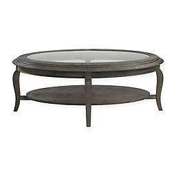 Bassett Mirror Company Belgian Luxe Raiden Oval Cocktail Table in Rustic Coffee Bean
