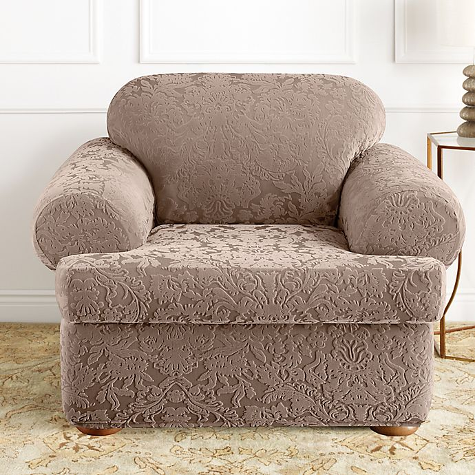 Alternate image 1 for Sure Fit® Stretch Jacquard Damask 2-Piece T-Cushion Chair Slipcover