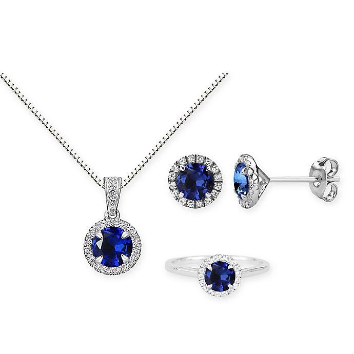 Lab Created Blue Sapphire Necklace Sterling Silver Created White Sapphire Halo