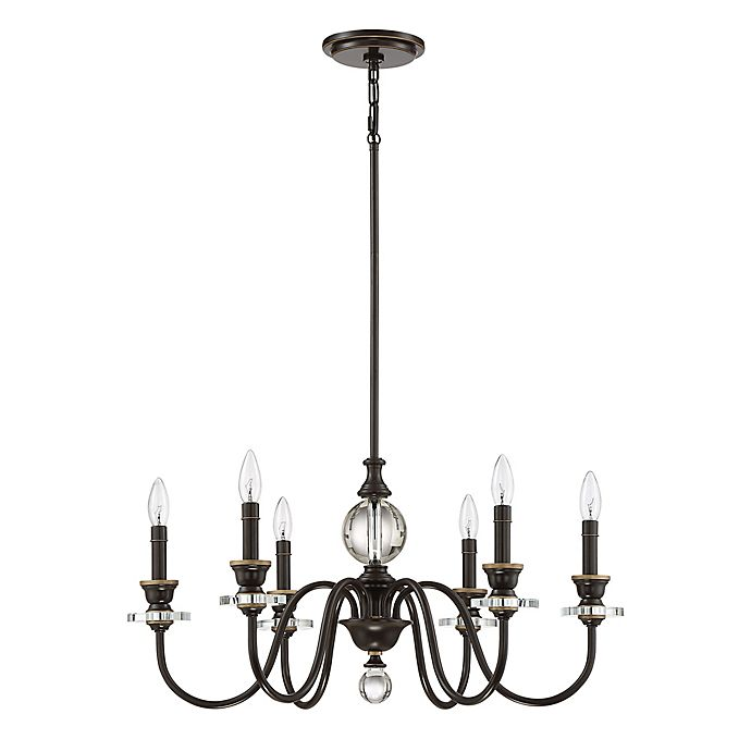 Alternate image 1 for Quoizel Ceremony 6-Light Chandelier in Palladian Bronze