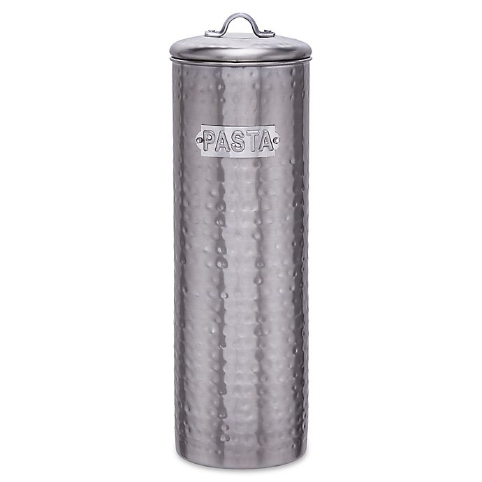 Alternate image 1 for Old Dutch International Hammered Decor Pasta Canister in Stainless Steel/Brushed Nickel