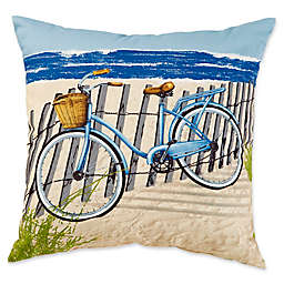Beach Bike Square Outdoor Throw Pillow in Blue