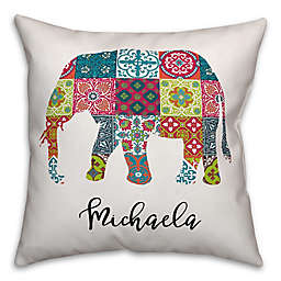 Elephant Tile Square Throw Pillow in Blue