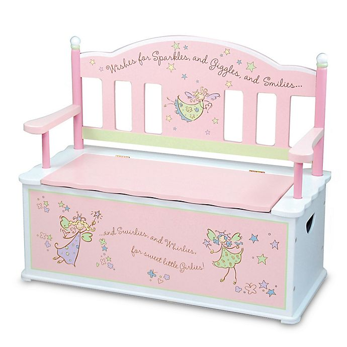 Alternate image 1 for Wildkin Kid's Fairy Wishes Bench Seat with Storage in Pink