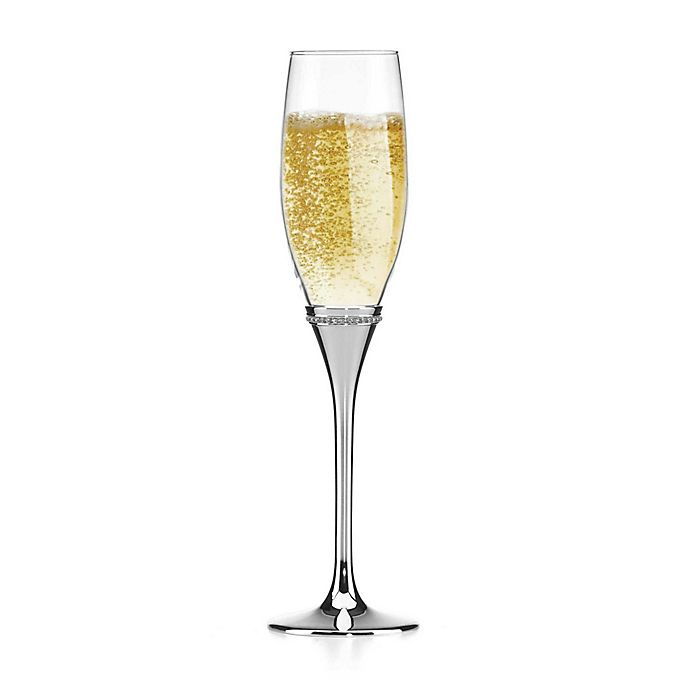 Reed Amp Barton Luxe Facets Champagne Flutes In Silver Set