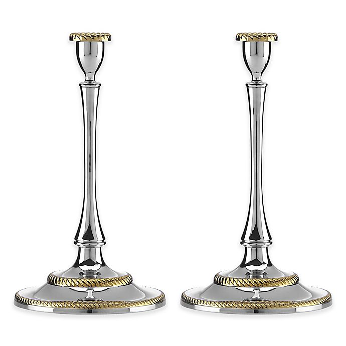 Alternate image 1 for Reed & Barton Roseland Candlesticks (Set of 2)