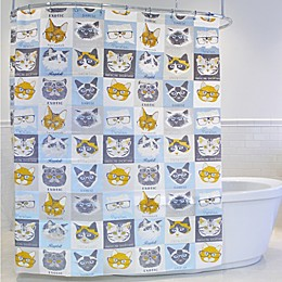 Cat & Glasses PEVA Shower Curtain
