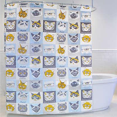 Cat & Glasses PEVA Shower Curtain