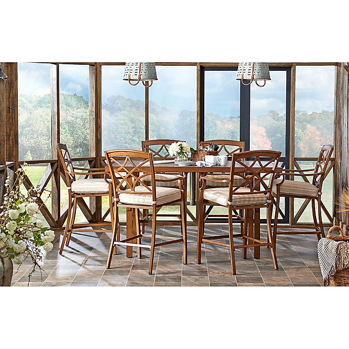 Alternate image 1 for Trisha Yearwood Home Outdoor 8-Piece Dining Set in Brown with 9-Foot Umbrella