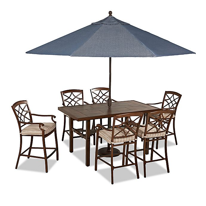 Alternate image 1 for Trisha Yearwood Home Outdoor 8-Piece Dining Set in Brown with 11-Foot Umbrella
