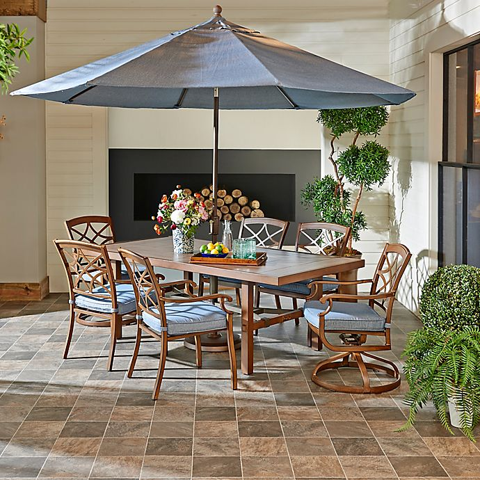 Alternate image 1 for Trisha Yearwood Home Outdoor 8-Piece Dining Set in Demo Denim with 11-Foot Umbrella