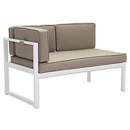 Zuo® Golden Beach Left Facing Chaise in White/Taupe