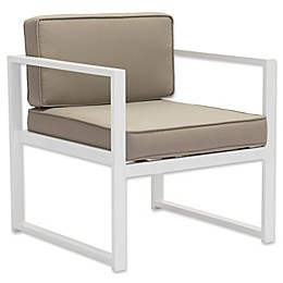 Zuo® Golden Beach Patio Conversation Armchair in White/Taupe (Set of 2)