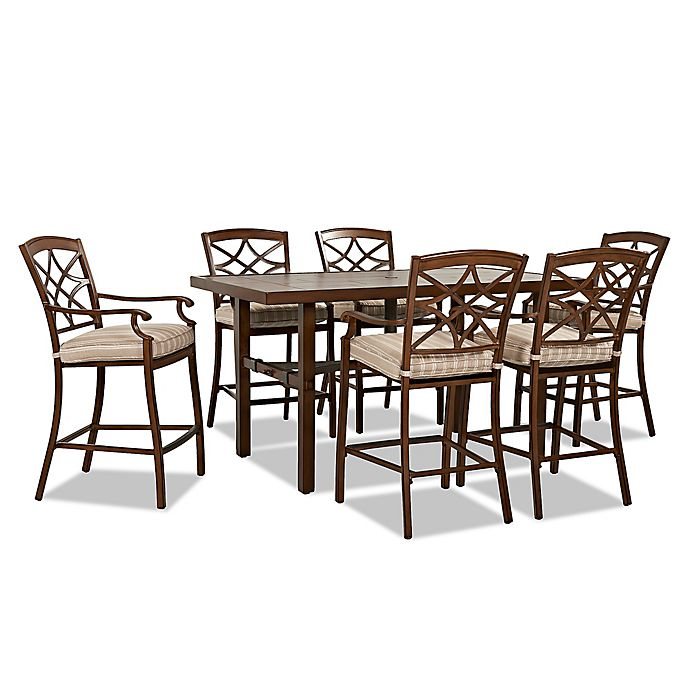 Alternate image 1 for Trisha Yearwood Home Collection 7-Piece Outdoor High Dining Set in Espadrille Brown