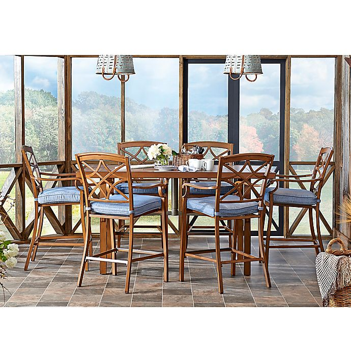 Alternate image 1 for Trisha Yearwood Home Collection 7-Piece Outdoor High Dining Set in Denim Blue