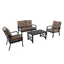 4-Piece Aluminum X-Back Seating Conversation Set