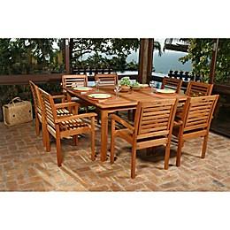 Amazonia Milano 9-Piece Square Eucalyptus Wood Outdoor Patio Dining Set