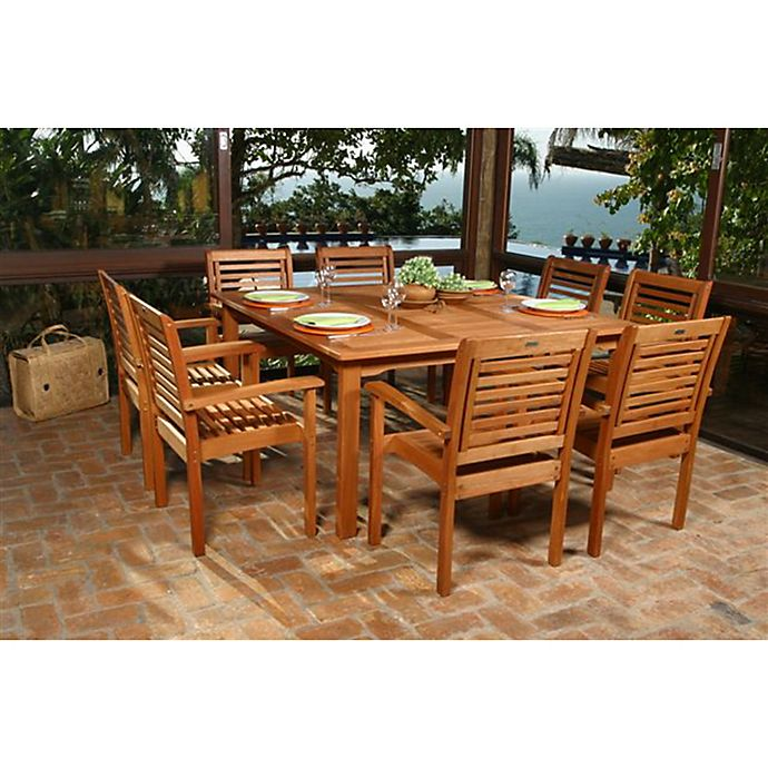 Alternate image 1 for Amazonia Milano 9-Piece Square Eucalyptus Wood Outdoor Patio Dining Set
