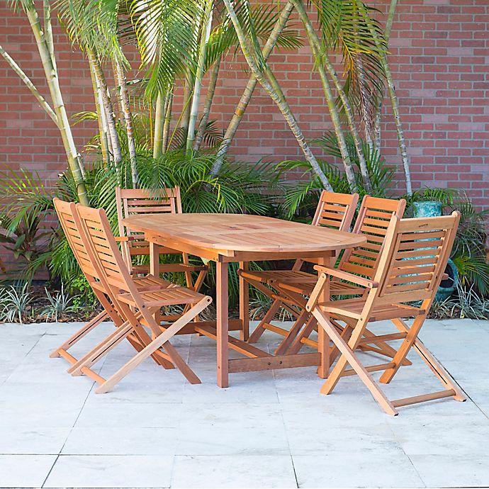 Alternate image 1 for Amazonia Milano 7-Piece Oval Eucalyptus Wood Extendable Outdoor Patio Dining Set
