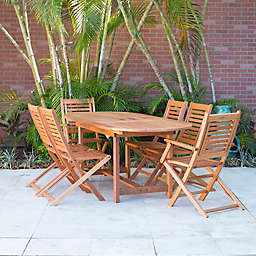 Amazonia Milano 7-Piece Oval Eucalyptus Wood Extendable Outdoor Patio Dining Set