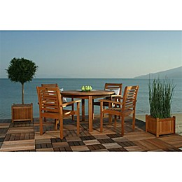 Amazonia Milano 5-Piece Round Eucalyptus Wood Outdoor Patio Dining Set
