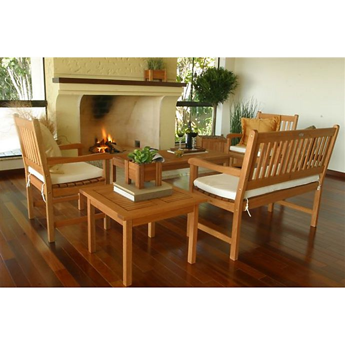 Alternate image 1 for Amazonia Milano 5-Piece Eucalyptus Wood Outdoor Patio Seating Set