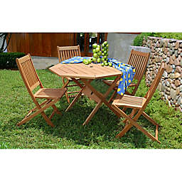 Amazonia Milano 5-Piece Octagon Eucalyptus Wood Outdoor Patio Dining Set