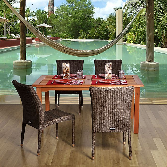 Alternate image 1 for Amazonia Brugge 5-Piece Eucalyptus Wood and Wicker Square Patio Dining Set