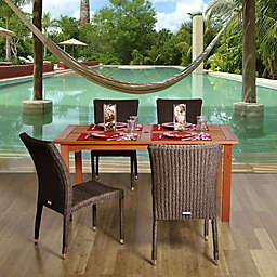 Amazonia Brugge 5-Piece Eucalyptus Wood and Wicker Square Patio Dining Set