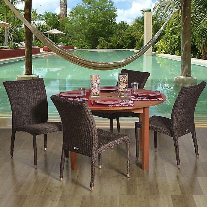 Alternate image 1 for Amazonia Lorraine 5-Piece Eucalyptus Wood and Wicker Round Patio Dining Set
