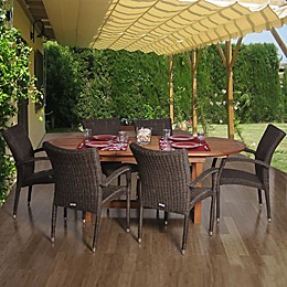Amazonia Lemans 7-Piece Extendable Oval Patio Dining Set with Armchairs
