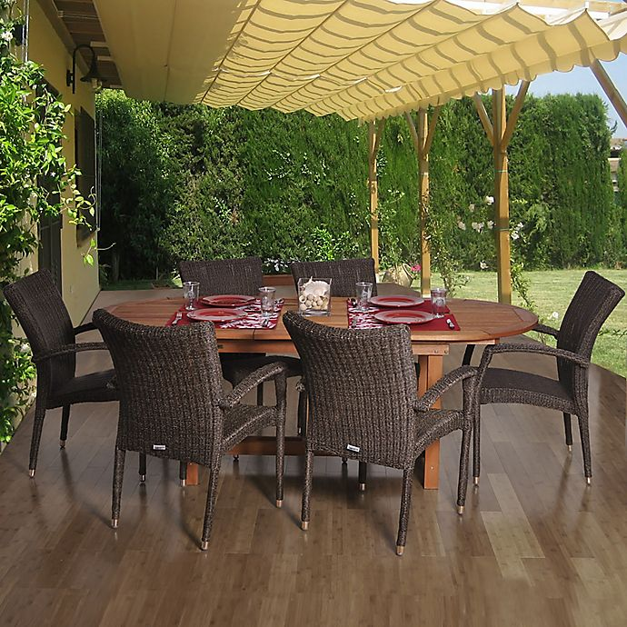 Alternate image 1 for Amazonia Lemans 7-Piece Extendable Oval Patio Dining Set with Armchairs