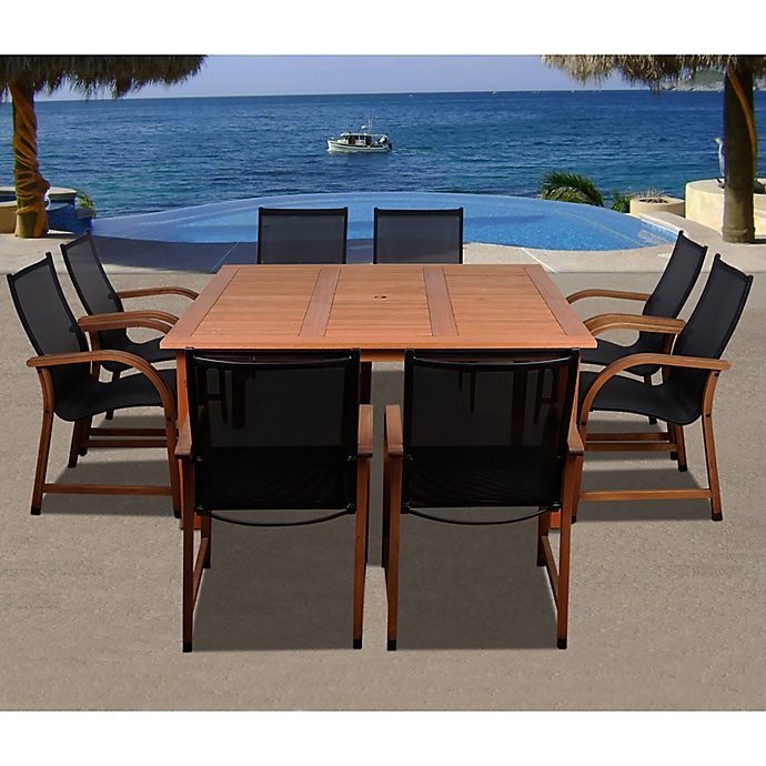 Alternate image 1 for Amazonia Bahamas 9-Piece Square Eucalyptus Outdoor Patio Dining Set in Brown/Black
