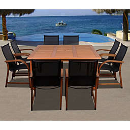 Amazonia Bahamas 9-Piece Square Eucalyptus Outdoor Patio Dining Set in Brown/Black
