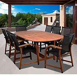 Amazonia Bahamas Extendable Oval Eucalyptus Outdoor Patio Dining Set