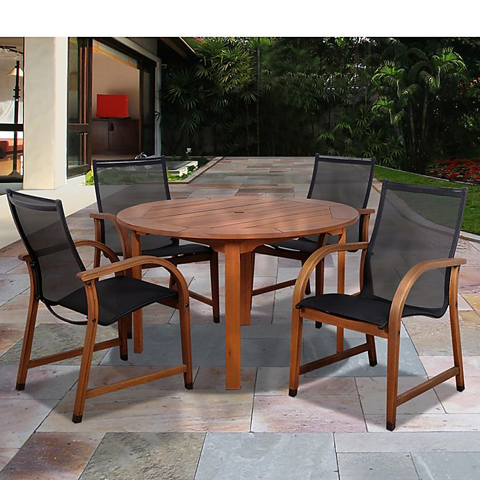 Alternate image 1 for Amazonia Bahamas 5-Piece Round Eucalyptus Outdoor Patio Dining Set with Black Sling Chairs