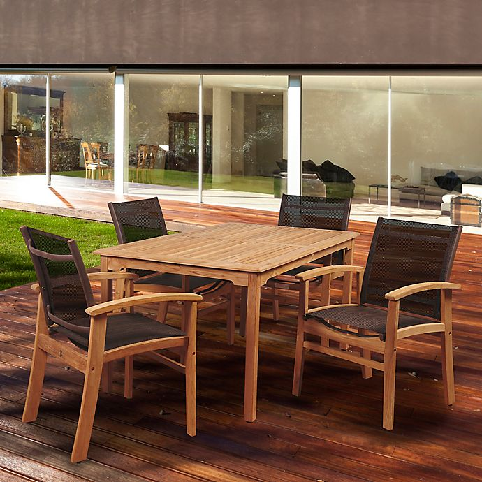 Alternate image 1 for Amazonia New Pacific 5-Piece Outdoor Dining Set in Brown