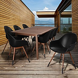 Amazonia Charlotte 9-Piece Rectangular Outdoor Patio Dining Set in Black/Natural