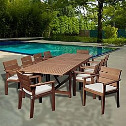 Amazonia Gerald 11-Piece Extendable Rectangular Outdoor Patio Dining Set in Brown