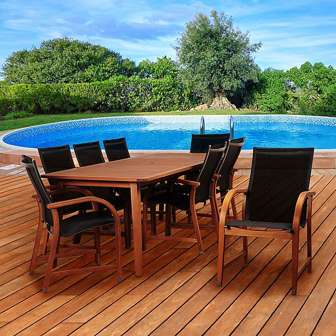 Alternate image 1 for Amazonia Richfield 9-Piece Eucalyptus Wood Outdoor Patio Dining Set