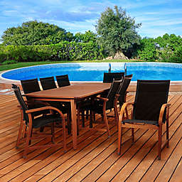 Amazonia Richfield 9-Piece Eucalyptus Wood Outdoor Patio Dining Set