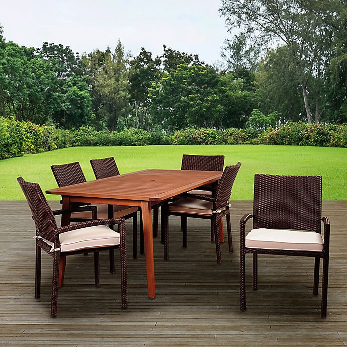 Amazonia Adelson 7 Piece Eucalyptus And Wicker Outdoor Patio Dining Set In Brown Off White Bed Bath Beyond