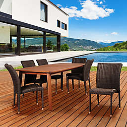 Amazonia Abaco 7-Piece Eucalyptus Wood and Wicker Outdoor Patio Dining Set in Brown/Grey