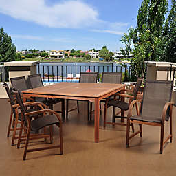 Amazonia Bahamas 9-Piece Square Eucalyptus Outdoor Patio Dining Set in Brown