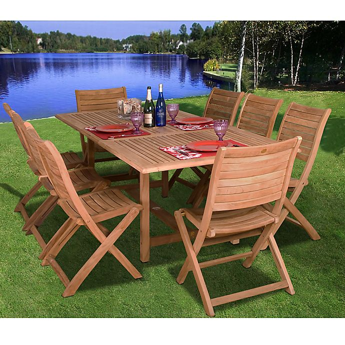 Alternate image 1 for Amazonia Dublin 9-Piece Teak Wood Outdoor Patio Dining Set