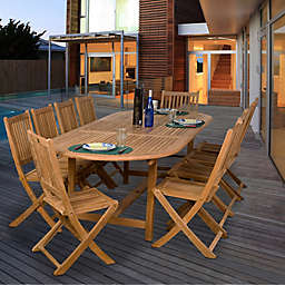 Amazonia Bergen 11-Piece Eucalyptus Wood Extendable Outdoor Patio Dining Set